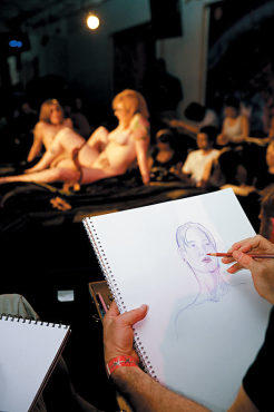 NUDE FOR THOUGHT Artists get easy access to frisky sitters at Adult Drawing.