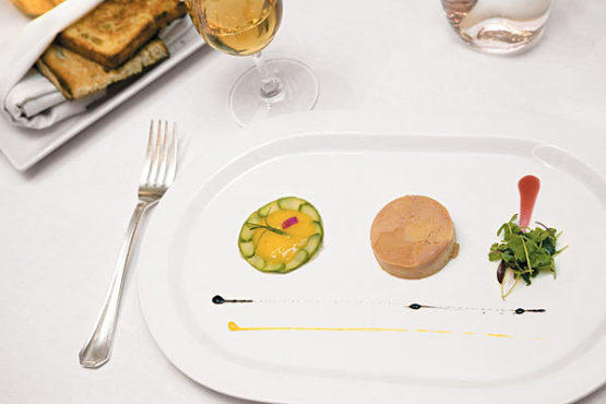 Foie gras with persimmon puree and asparagus