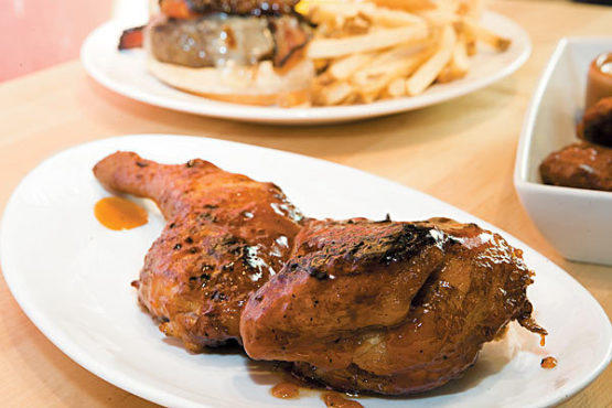 Smoked chicken with apricot glaze