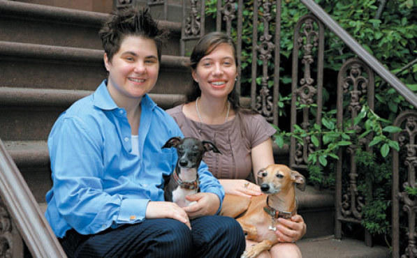 UNDERDOGS Kurland, left, lives in Chelsea with her partner, Elizabeth, and their two greyhounds.