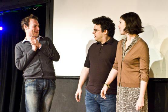 Brandon Scott Jones cajoles Jon Gutierrez and Alison Bennett