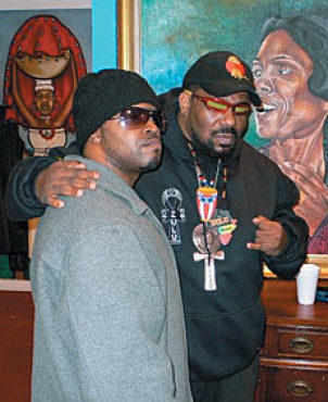 UNIVERSAL MC The message of dignity coming from NYOIL, left, with supporter Afrika Bambaataa, is aimed at Black America, but it applies to everyone.