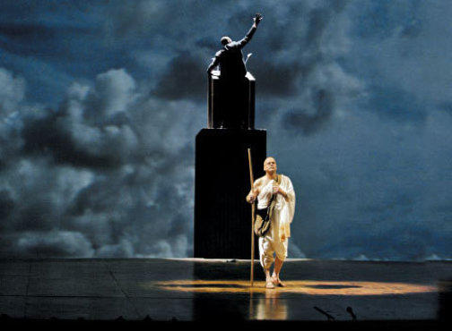 MAN OF OUR TIMES Gandhi took center stage in Satyagraha at the Metropolitan Opera in February.