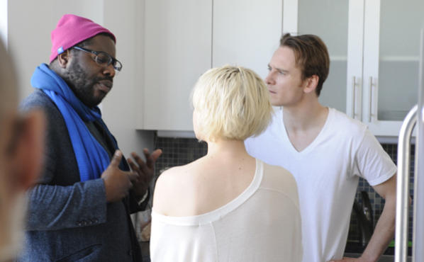 Steve McQueen, left, Carey Mulligan and Michael Fassbender in Shame