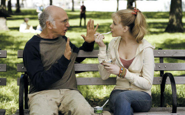 BENCH PRESS Larry David forces his perspective on Evan Rachel Wood in Whatever Works.