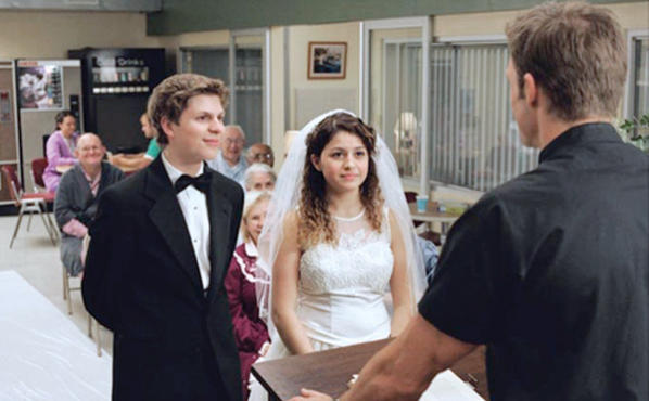 ARRESTED DEVELOPMENT: George Michael (Michael Cera, left) and Maeby (Alia Shawkat, right) participate in a mock wedding to entertain Alzheimers patients.