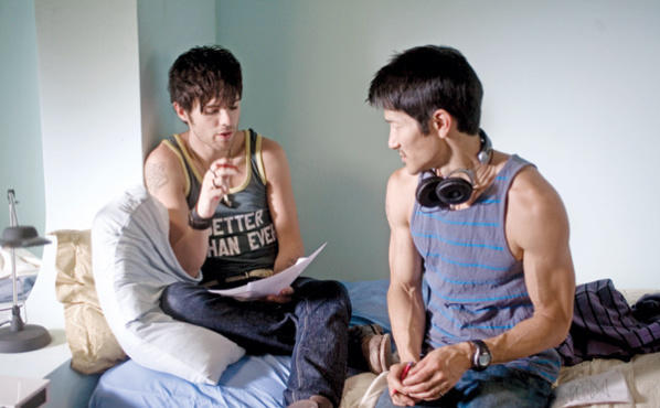 <p><strong>BEDSIDE MANNER</strong> Araki, right, works with Dekker on a comedy the director calls autobiographical.</p>