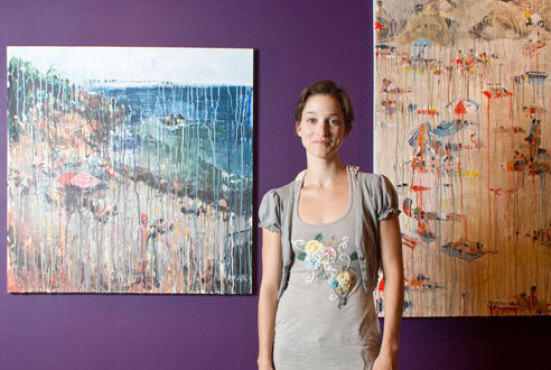 ARTY PANTS Bouder shows off Chrissy Angliker's paintings at the William Bennett Gallery.