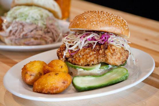 Fried chicken sandwich at Van Horn Sandwich Shop