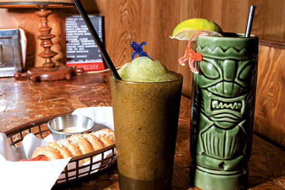 From left: The pretzel-dog, the Rusty Knot, and a dark and stormy