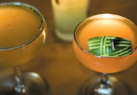 The OId Cuban (left) and Pegu Club cocktails