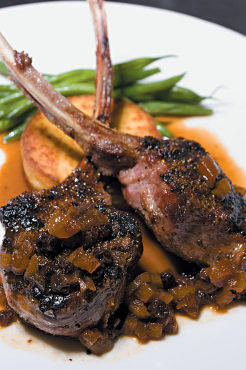 Spice-rubbed lamb chops with fried hummus