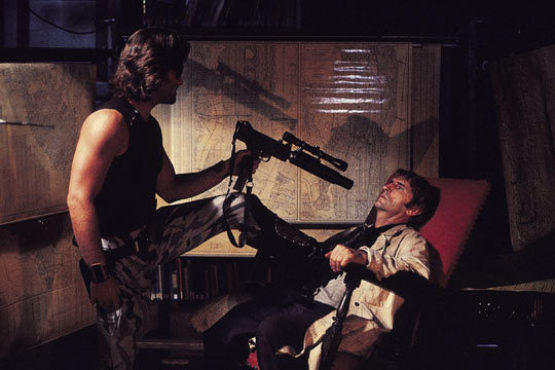 <p>ASSAULT AND BATTERY PARK Kurt Russell pins Harry Dean Stanton in <em>Escape from New York.</em></p>