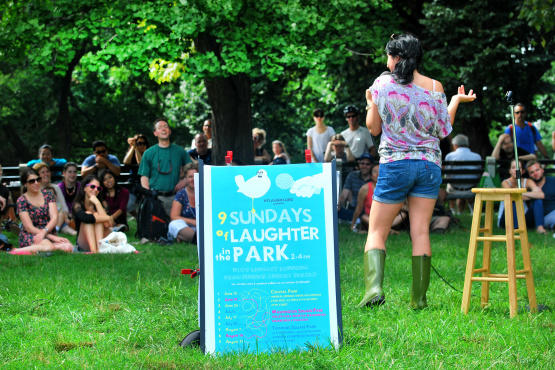 Giulia Rozzi performing at Laughter in the Park in Central Park