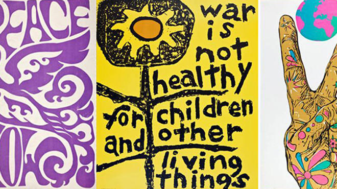 Peace, 1970, by unknown artist; Children and Other Living Things, 1967, by Lorraine Schneider; World Peace, 1970, by Earl Newman