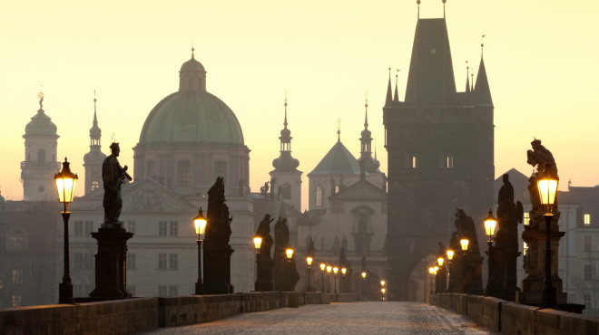 Czech Republic, Prague, Charles Bridge at dawn.