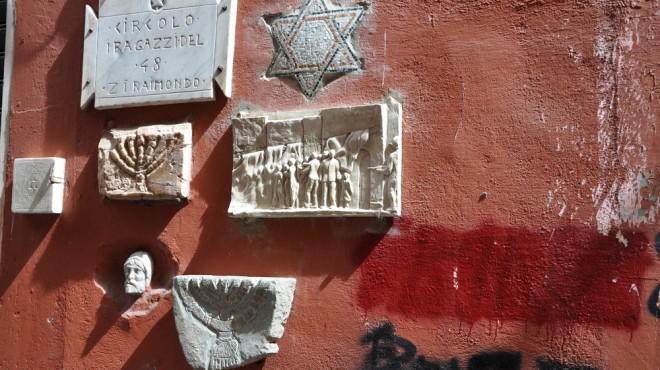 A wall in Rome's Jewish quarter