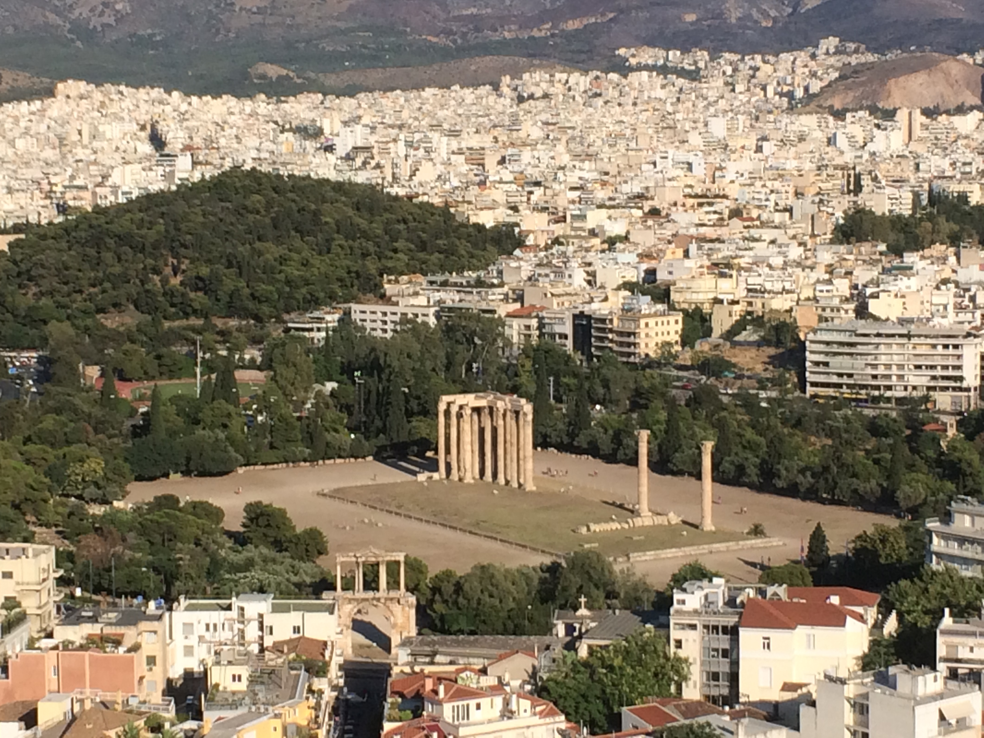 The Temple of Olympian Zeus and Hadrian's Arch, as seen from the Acropolis© Chris Bourn